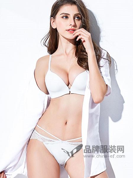 艾迪莎女装2018春夏无钢圈前扣性感小胸罩聚拢少女套装加厚薄款收副乳文胸
