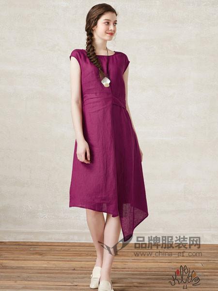 珂蕾朵姆Kaleidom女装2018夏季时尚百搭无袖单排扣亚麻连衣裙