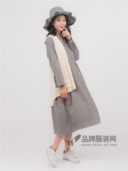 本依凡女装2018春夏韩式格子宽松连衣裙