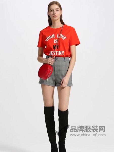夺宝奇兵女装2018夏季纯棉T恤女短袖潮字母图案套头衫