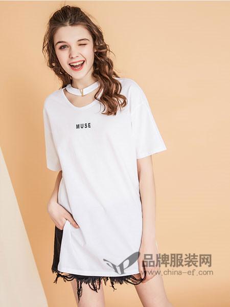 夺宝奇兵女装2018夏季宽松时尚中长款开叉短袖T恤