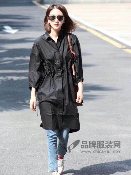 Vanities女装2018春夏时尚休闲轻薄系带风衣