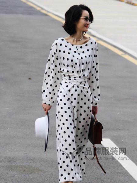 Vanities女装2018春夏时尚优雅波点阔腿连体裤