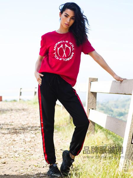 MK双刀男装2018春双刀标志红色短袖女T恤