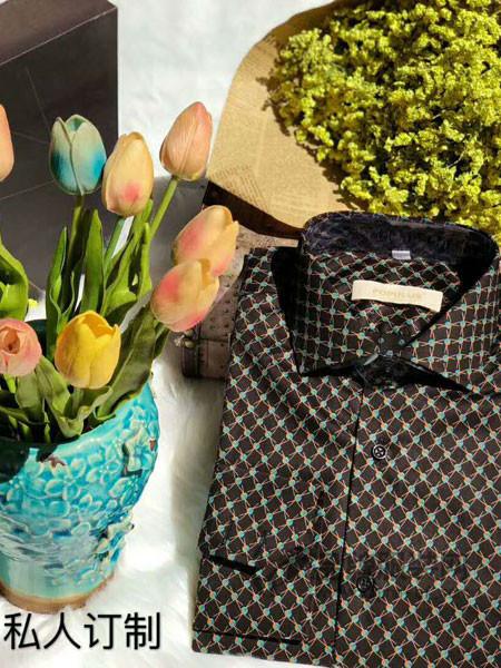 博布莱斯男装装私人定制款时尚商务长袖撞色衬衣