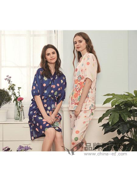GCGOCOH阪の屋内衣2018春夏V领显瘦中袖设计睡裙