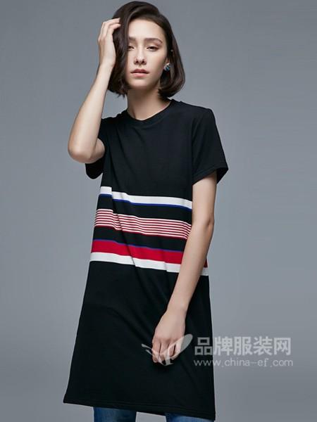 杰恩蒂女装2018春夏时尚休闲条纹短袖连衣裙