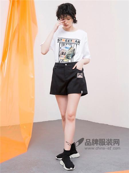 CRZ潮牌女装2018春夏时尚清新印花短袖T恤