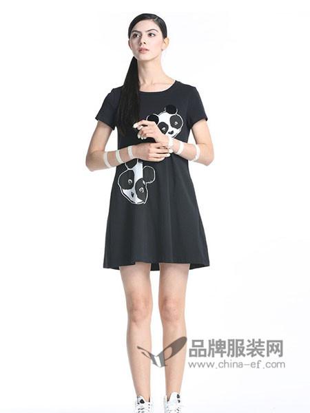 自然元素女装2018夏季时尚休闲可爱头像印花连衣裙