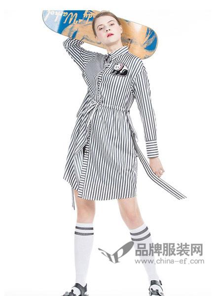 自然元素女装2018夏季时尚条纹长袖开衫连衣裙
