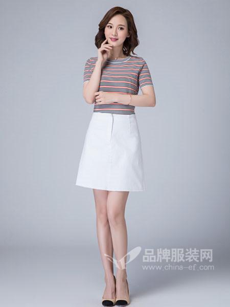 曼保睐女装2018夏季韩版宽松圆领显瘦条纹上衣