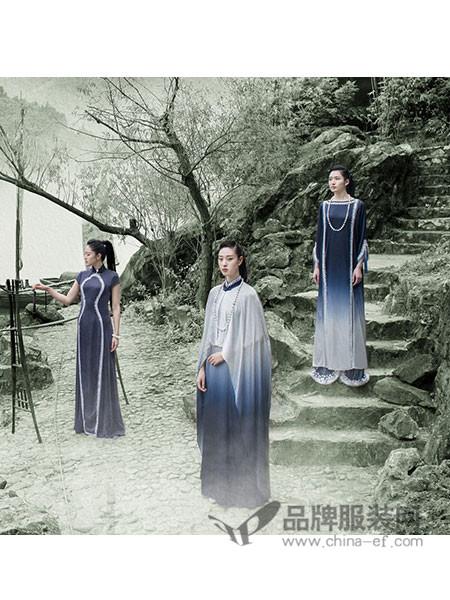 吉祥斋女装2018春夏中式复古绣花深色连衣裙