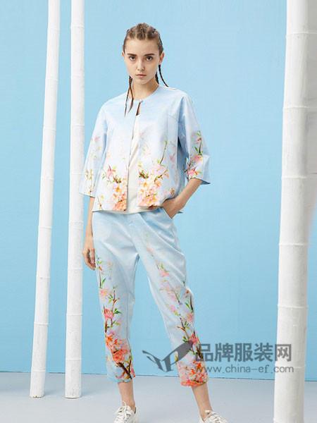 芥末女装2018春夏中国风七分袖设计缎面桃花印花短款外套改良唐装汉服