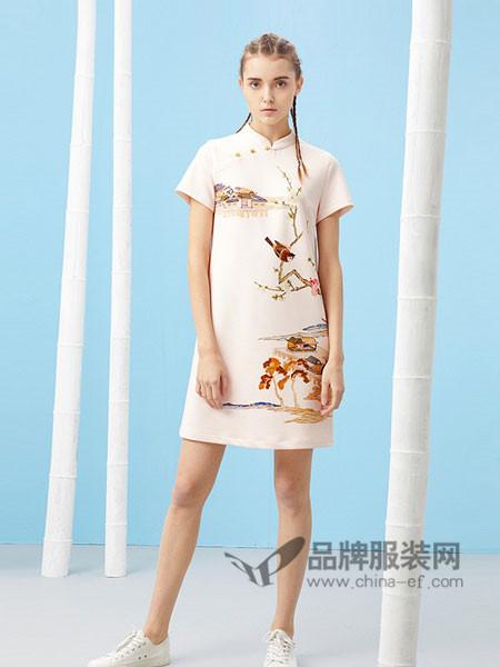 芥末女装2018春夏中国风中式连衣裙立领工笔花鸟印花设计改良旗袍