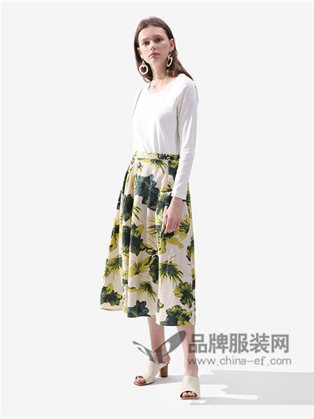 伊思君凯女装2018春夏麻宽松中长款植物印花A字裙