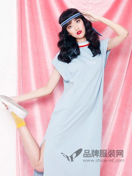 有耳女装2018春夏新款中长款韩版连肩袖修身显瘦短袖连衣裙女