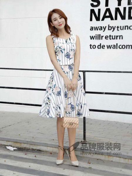CO&LI女装2018夏季时尚韩式碎花无袖套裙