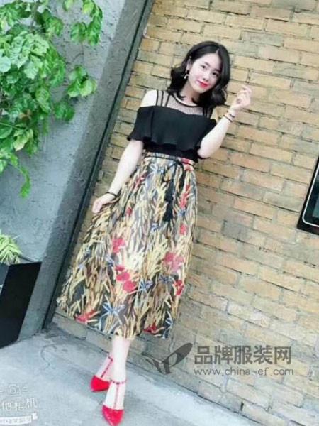 CO&LI女装2018夏季时尚雪纺气质碎花拼接连衣裙