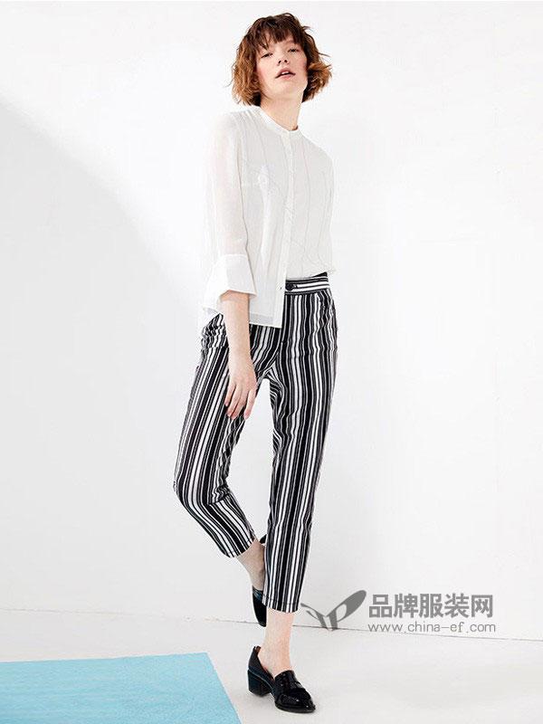 娜尔思.灵女装2018春夏休闲裤腰部配可拆式绑带条纹长裤
