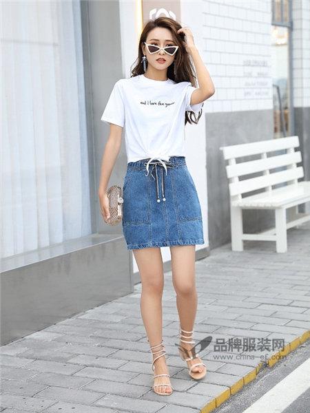 艾斯嘉女装2018春夏时尚字母短袖T恤