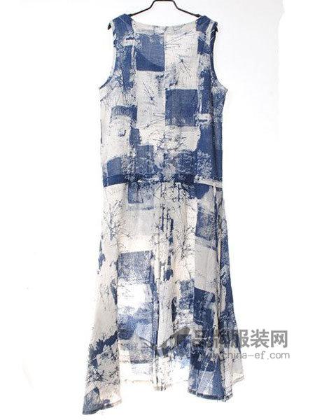 佈依诺斯Buyinuosi女装时尚优雅气质撞色无袖连衣裙