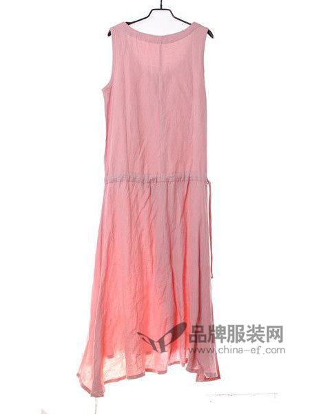 佈依诺斯Buyinuosi女装优雅气质棉麻无袖收腰连衣裙
