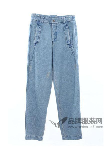 �岩琅邓�Buyinuosi女装时尚休闲百搭牛仔长裤