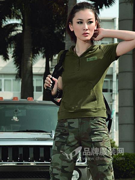 陆海空休闲时尚休闲迷彩女军套装