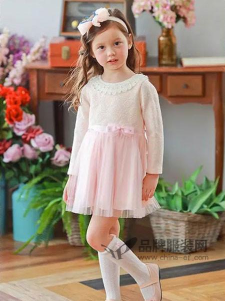 安妮公主童装春夏韩式甜美粉色公主裙