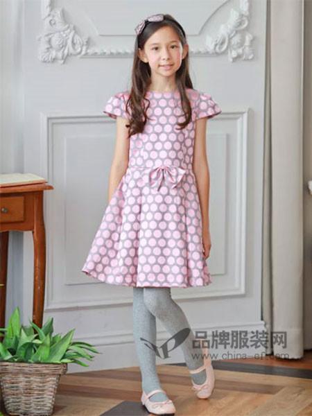 安妮公主童装春夏优雅贵气波点连衣裙