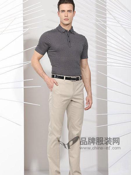 斯卡图男装莫代尔棉成熟稳重时尚休闲短袖T恤