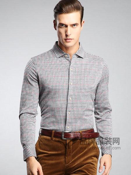 斯卡图男装天丝羊毛棉经典格纹舒适保暖长袖衬衫