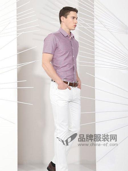 斯卡图男装百搭条纹时尚休闲翻领短袖衬衫