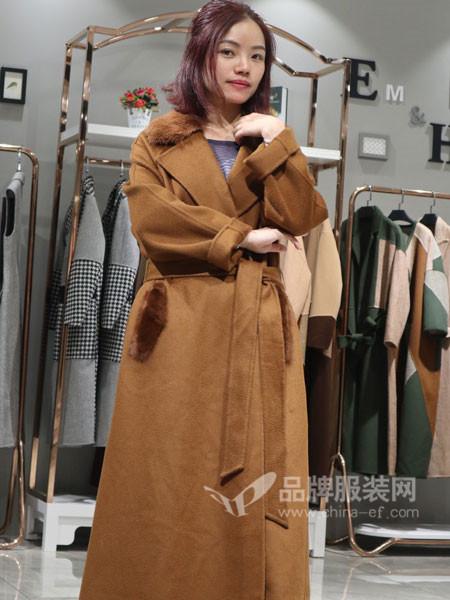 季歌品牌折扣女装2018秋冬中长款驼色双面绒大衣