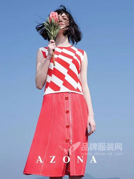 阿桑娜女装2018夏季时尚无袖条纹雪纺上衣