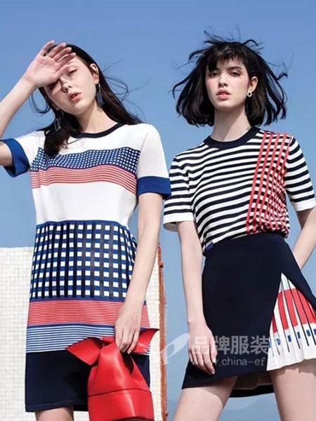 阿桑娜女装2018夏季欧式时尚个性格子拼接连衣裙