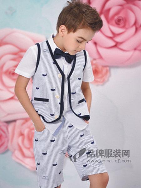 诺贝达童装2018春夏时尚帅气男短袖礼服套装