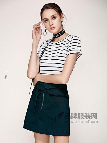 楚阁女装2018夏季时尚条纹短袖上衣