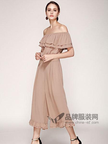 楚阁女装2018夏季时尚雪纺一字领荷叶边连体裤