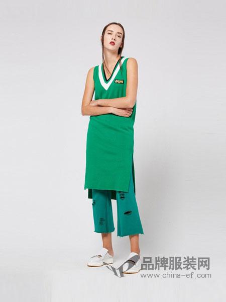 U/TI尤缇女装2018春夏新品女休闲拼接V领无袖长款针织连衣裙