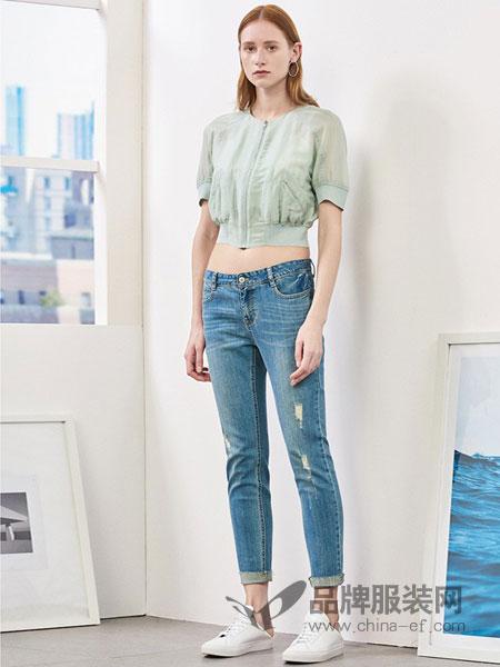 艾诺丝·雅诗女装2018春夏新品休闲裤九分裤