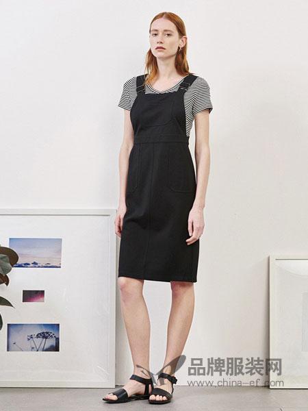 艾诺丝·雅诗女装2018春夏条纹两件套背带连衣裙2018夏新品高腰弹性中裙