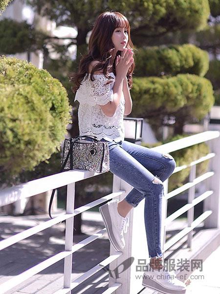 艾莉�号�装2018春夏白色蕾丝T恤