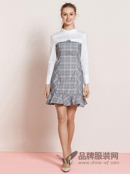 罗燕Roem女装2018春夏新品格纹背带假两件连衣裙鱼尾裙摆连衣裙