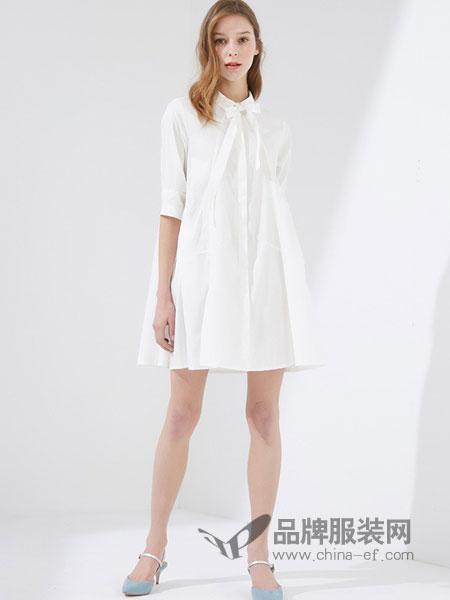 马威休闲2018春夏新款韩版宽松中长款衬衫中袖纯棉裙子
