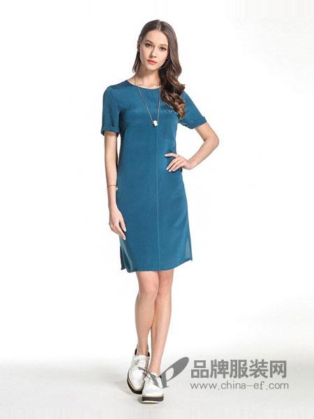 乔万尼女装2018春夏新品桑蚕丝短袖圆领纯色真丝修身气质直筒连衣裙女中裙
