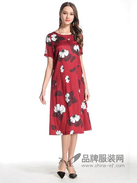 乔万尼女装2018春夏红色时尚印花大花真丝宽松a字裙中长