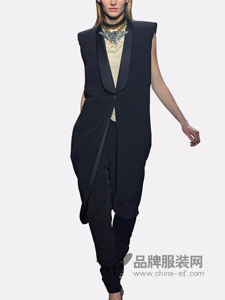 蔻贝卡女装2018春夏无袖气质西装领时尚外套马甲女长款露背开叉深藏蓝色