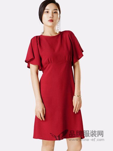 蔻贝卡女装2018春夏新款中长款雪纺荷叶袖气质简约通勤OL