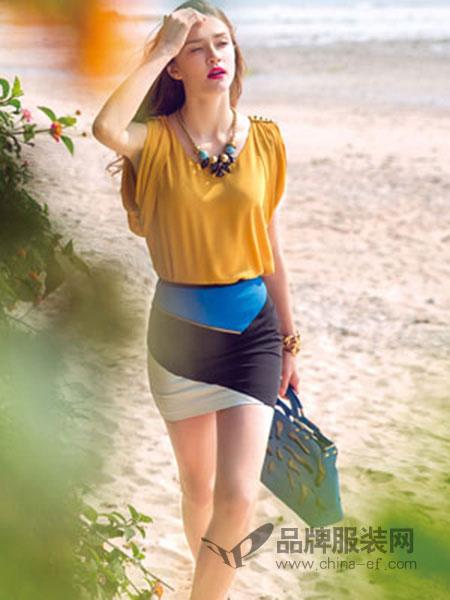 帛逸女装黄色拼接连衣裙